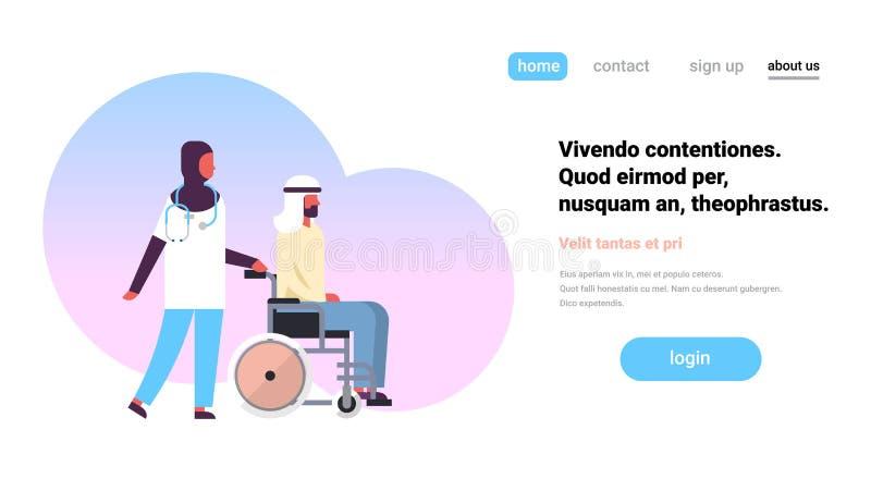 有阿拉伯人患者的医疗阿拉伯妇女医生轮椅诊所医疗保健概念平的水平的拷贝空间的 库存例证
