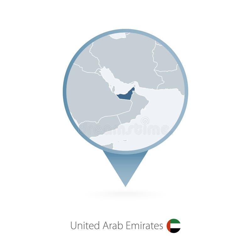 有阿拉伯联合酋长国和邻国详细的地图的地图别针  皇族释放例证
