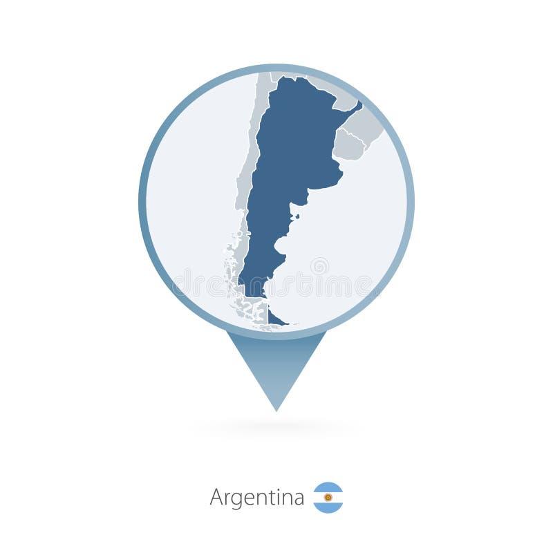 有阿根廷和邻国详细的地图的地图别针  向量例证
