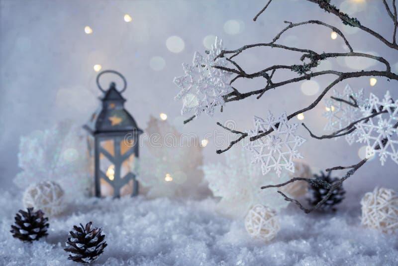 有降雪和魔术光的冷淡的冬天妙境 免版税库存照片