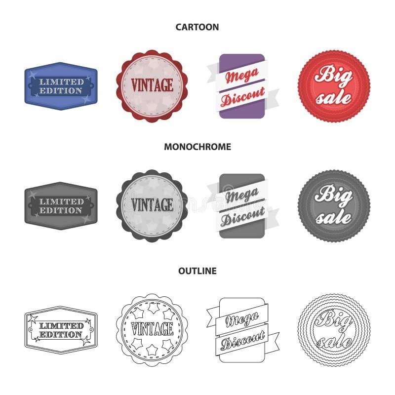 有限版,葡萄酒,兆discont,开掘销售 标签,设置了在动画片,概述,单色样式传染媒介的汇集象 库存例证