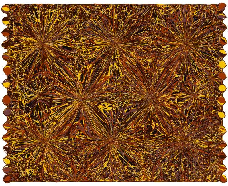 有难看的东西的粗野的织法地毯在黄色的条纹图形,棕色,乌贼属颜色 库存例证