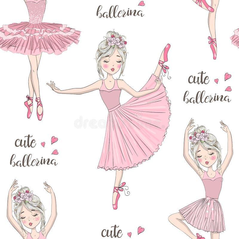 有雀斑的手拉的美丽,可爱,小芭蕾舞女演员在她的头的女孩和花 向量例证