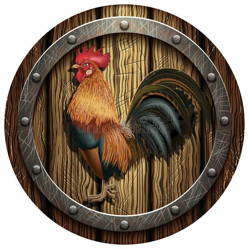 有雄鸡的木圆的盾 向量例证