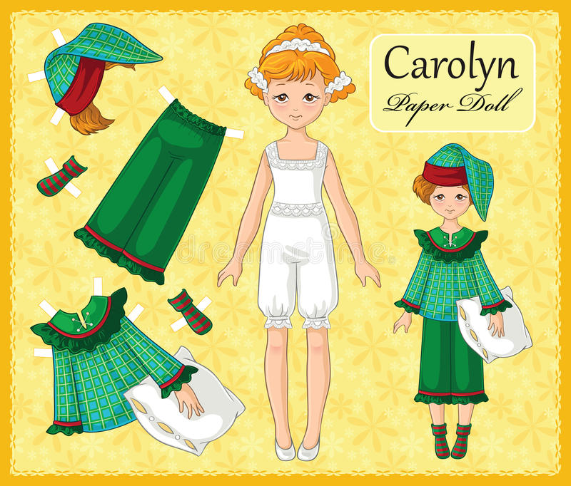有集合的没有年轻美丽的纸玩偶女孩2她的衣裳 皇族释放例证