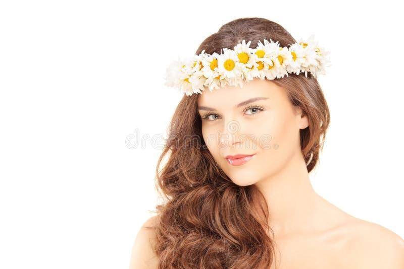 有雏菊头发花圈的美丽的少妇 免版税库存照片