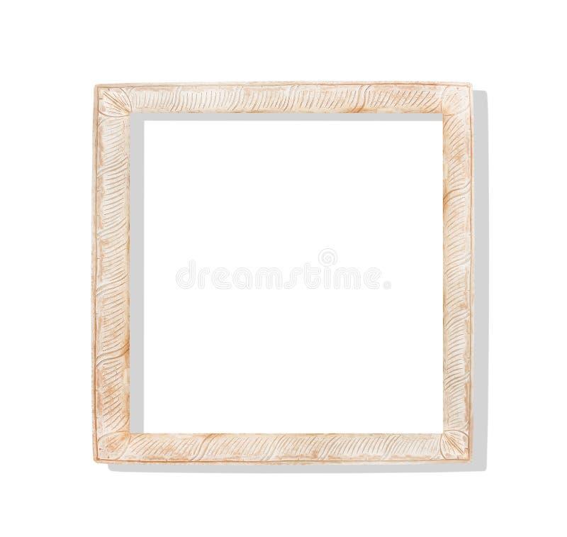 有雕刻样式的波浪的Rrusty老棕色木相框隔绝在与裁减路线的白色背景 库存例证