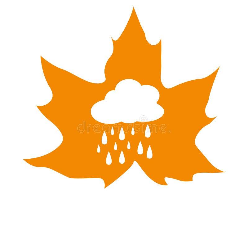 有雨云的枫叶 库存例证