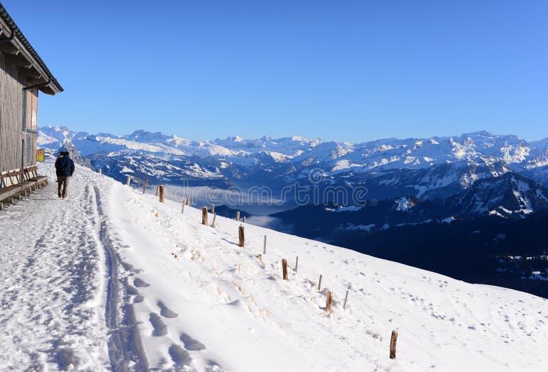 有雪山的雪人行道,瑞吉峰Kulm 库存照片