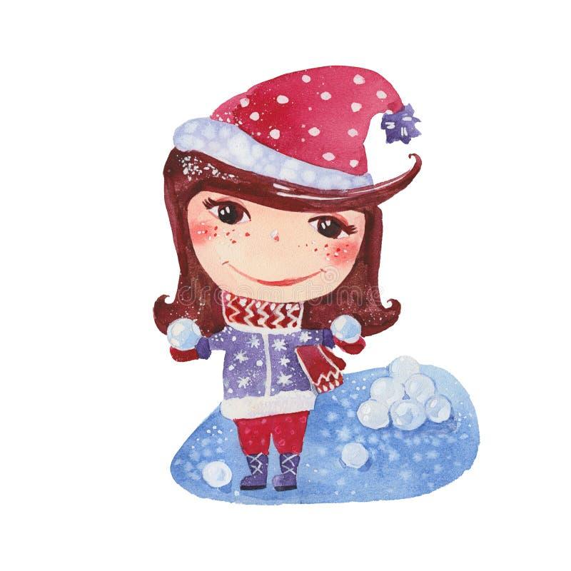 有雪球的女孩 向量例证