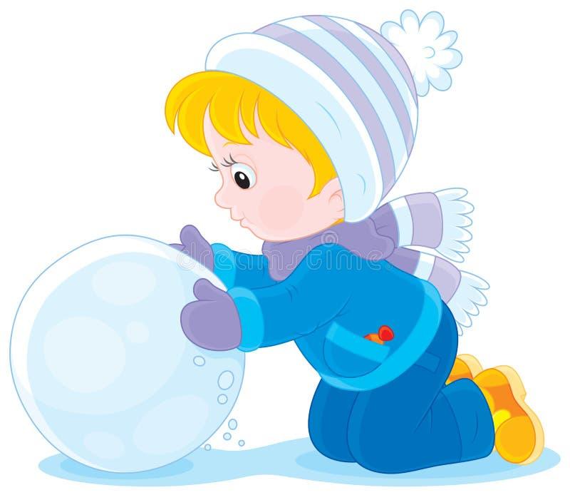 有雪球的孩子 向量例证