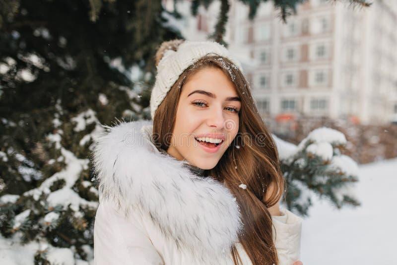 有雪的在头发享受愉快的冬时的蓝眼睛的女孩特写镜头画象  肉欲的白肤金发的妇女室外照片  库存照片