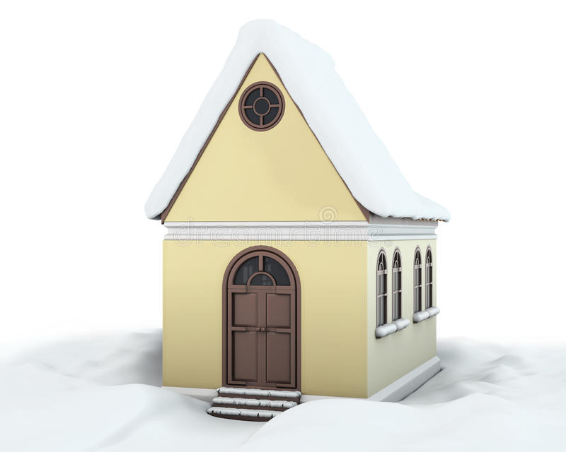 有雪的议院在随风飘飞的雪中的屋顶 库存例证