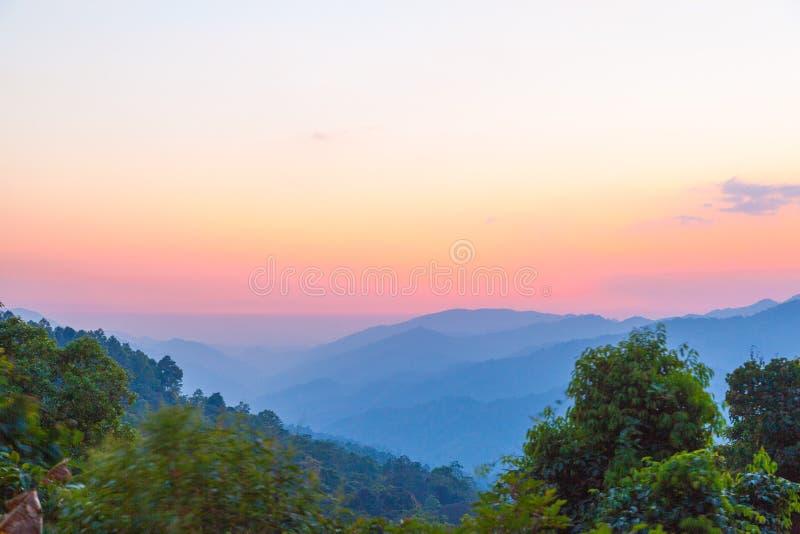 有雾早晨的日出 库存图片