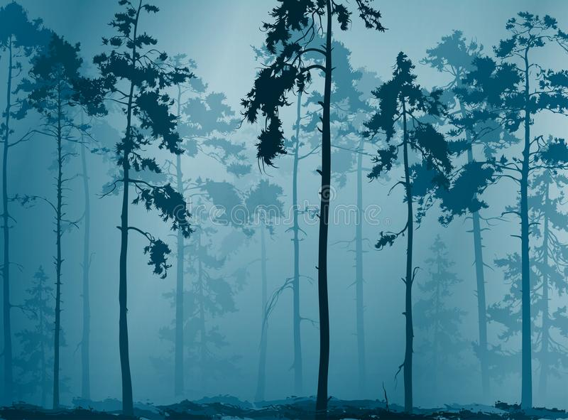 有雾的森林 皇族释放例证