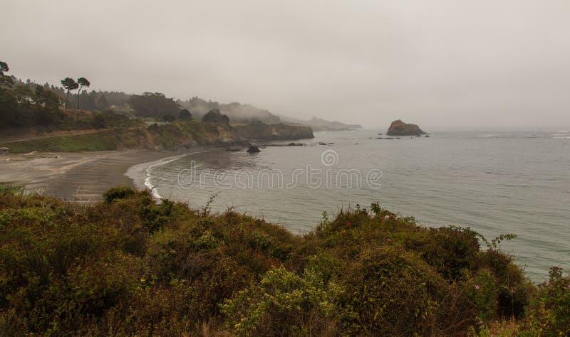 有雾的海岸线在Mendocino加利福尼亚地区 库存图片