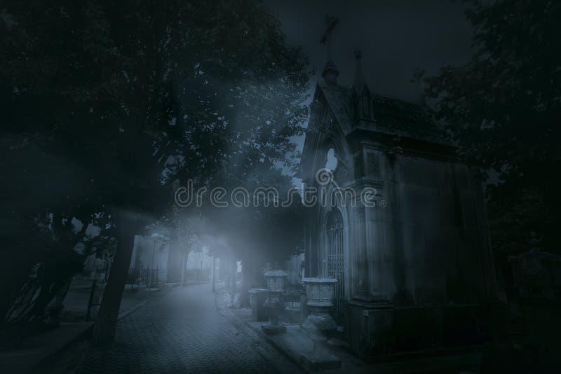 有雾的老欧洲公墓 免版税库存照片
