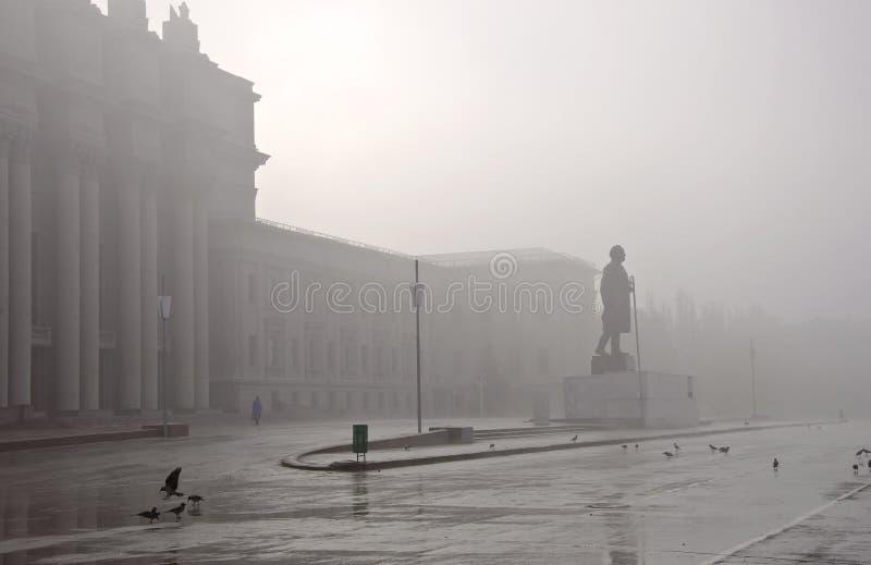 有雾的都市风景 库存照片
