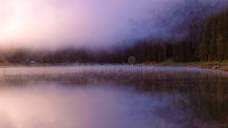 有雾的,森林Mountain湖 免版税图库摄影