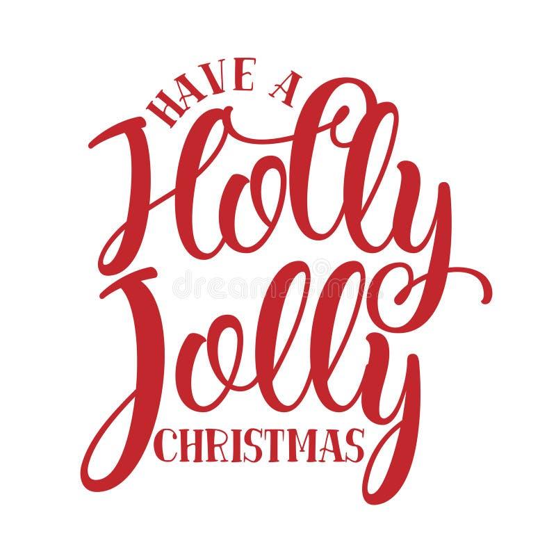 有霍莉快活的圣诞节-圣诞节的书法词组 向量例证