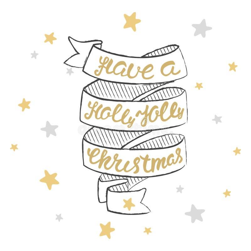 有霍莉快活的圣诞节字法 圣诞节手书法卡片 库存例证