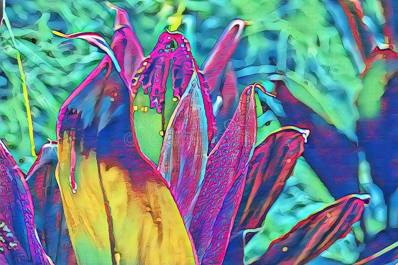 有霓虹开花的意想不到的热带植物 异乎寻常的自然荧光的数字例证 开花的热带庭院 库存例证
