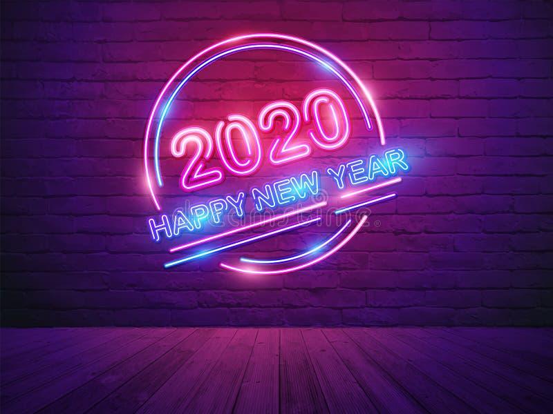 有霓虹灯字母表的2020新年快乐在砖墙室背景 库存例证
