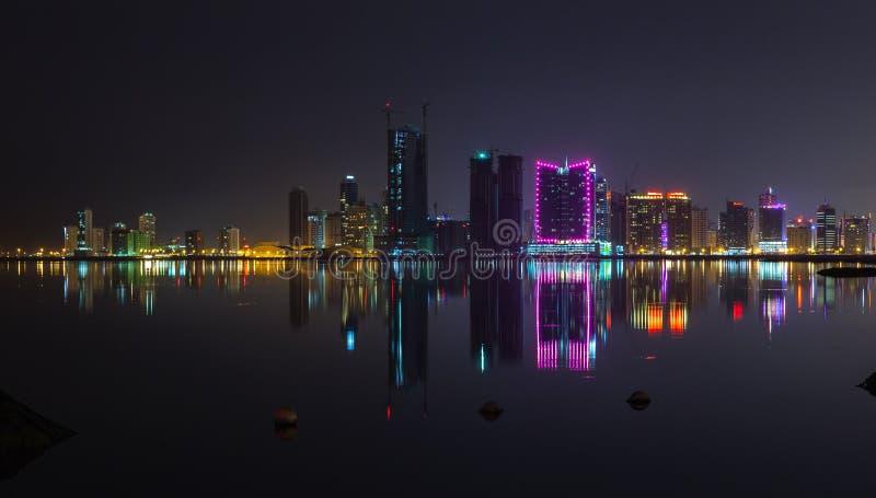 有霓虹灯的夜现代城市地平线全景 免版税图库摄影