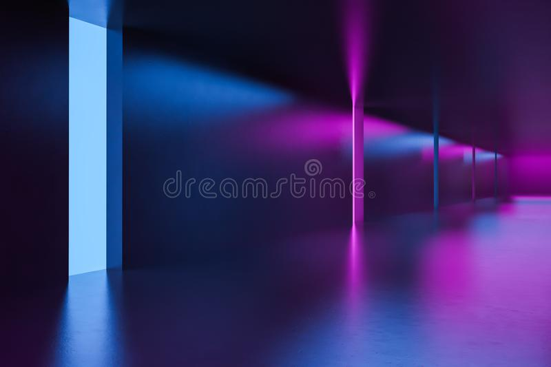 有霓虹灯的未来派空的走廊 皇族释放例证