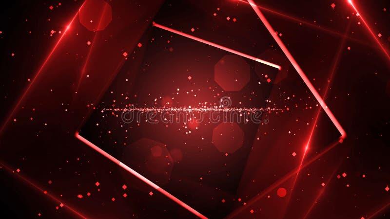有霓虹线的光红色真正抽象背景空间隧道 库存例证
