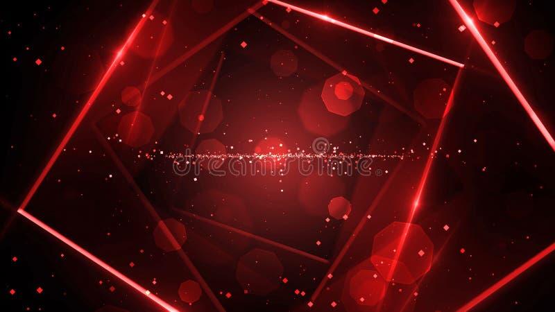 有霓虹线的光红色真正抽象背景空间隧道 皇族释放例证