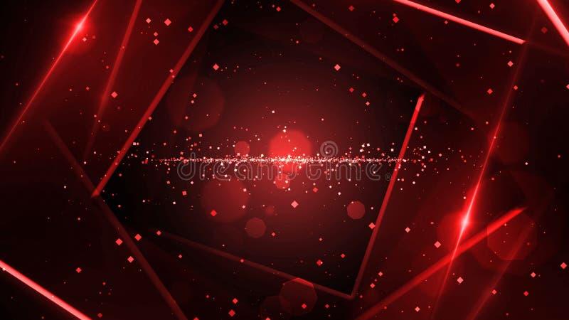 有霓虹线的光红色真正抽象背景空间隧道 向量例证