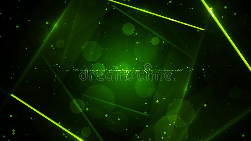 有霓虹线的光绿色真正抽象背景空间隧道 向量例证