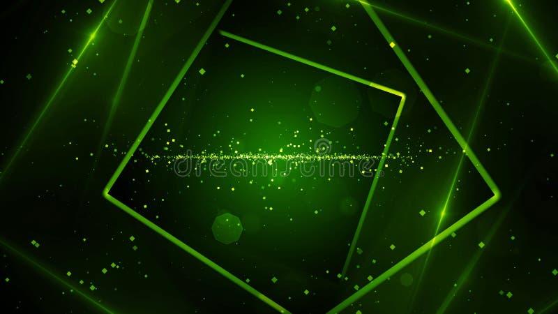 有霓虹线的光绿色真正抽象背景空间隧道 库存例证