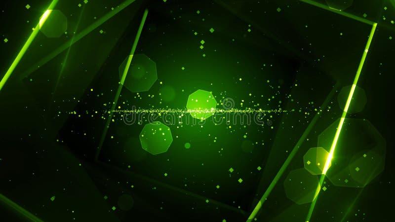 有霓虹线的光绿色真正抽象背景空间隧道 皇族释放例证