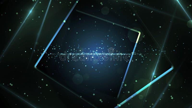 有霓虹线的光蓝色真正抽象背景空间隧道 皇族释放例证
