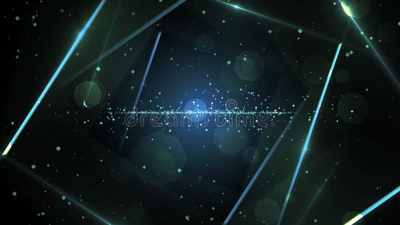 有霓虹线的光蓝色真正抽象背景空间隧道 库存例证