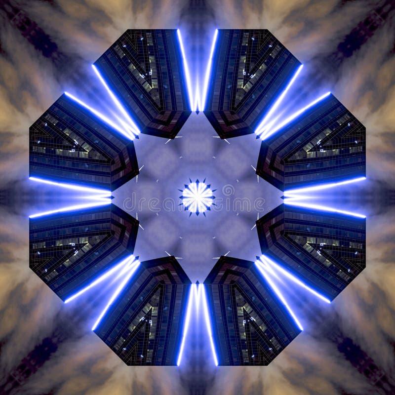 有霓虹蓝色紫色光的圣迭戈摩天大楼 库存例证