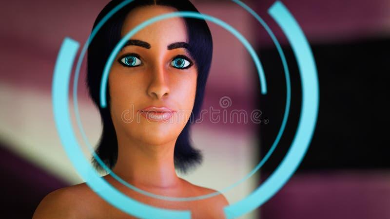 有霓虹透镜的一名未来派妇女在她的眼睛 皇族释放例证