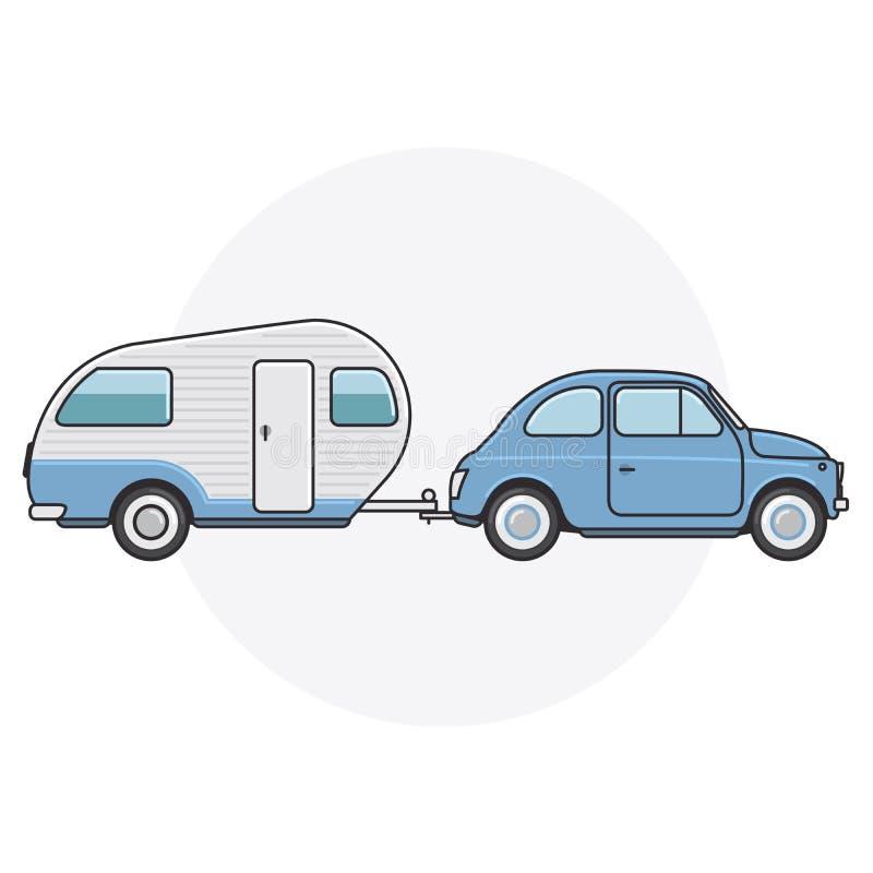 有露营搬运车的减速火箭的汽车-旅行在葡萄酒汽车 皇族释放例证