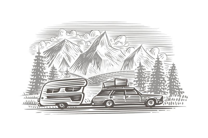 有露营搬运车黑白照片例证的一辆汽车 传染媒介,隔绝,层状 皇族释放例证
