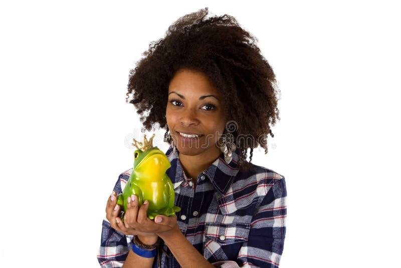 有青蛙王子的新非裔美国人 免版税库存照片