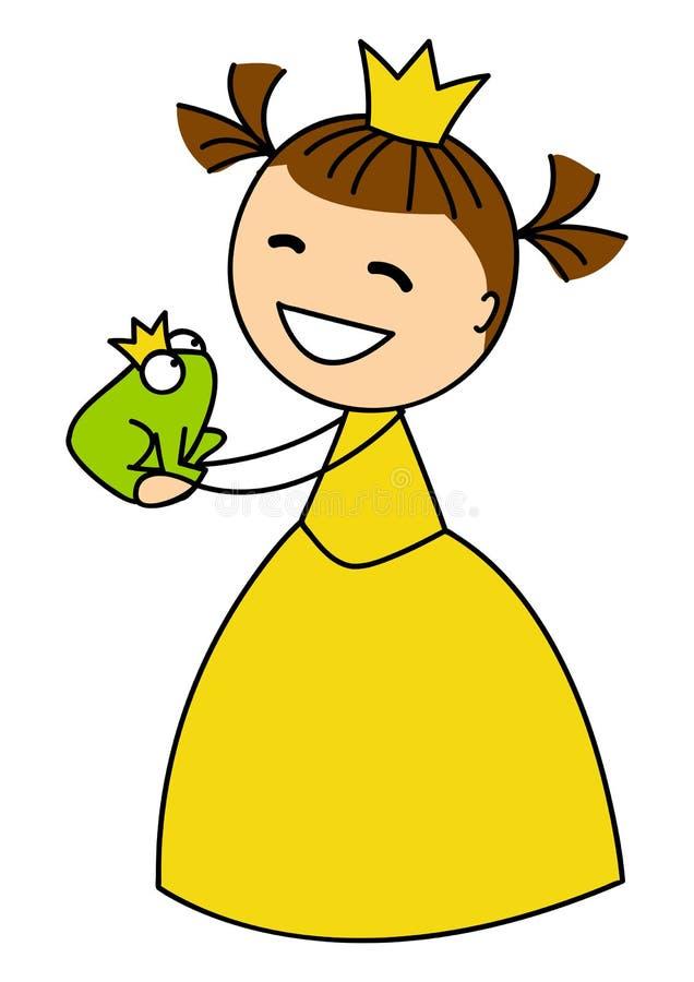 有青蛙的逗人喜爱的小女孩 向量例证