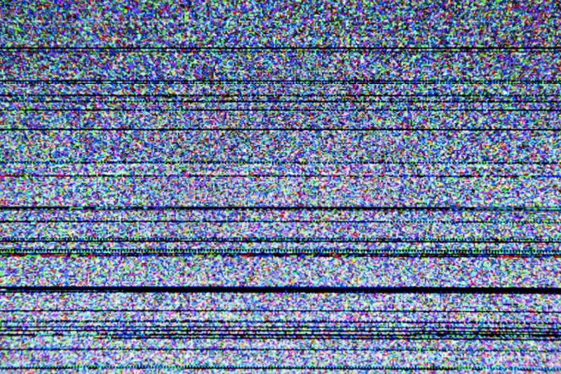 有静态噪声的电视屏幕 免版税库存图片