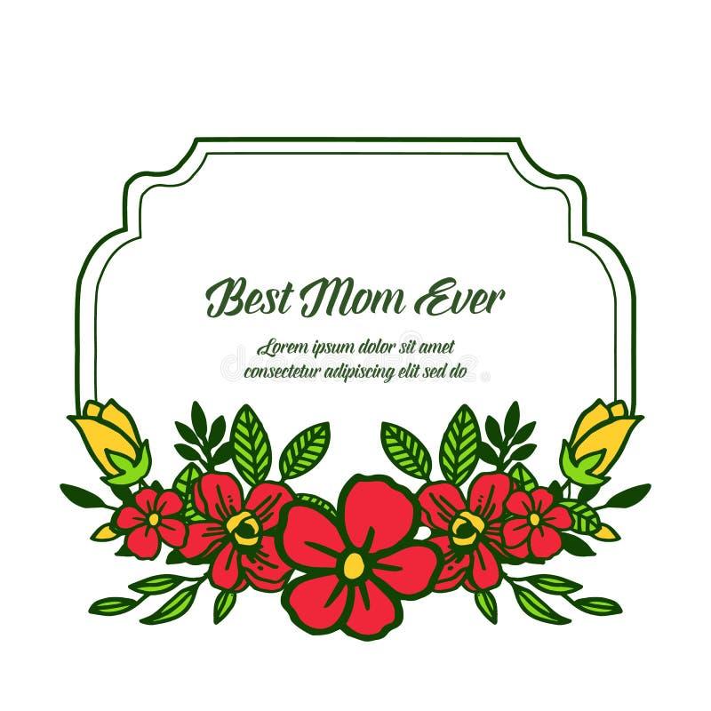 有非常美好的五颜六色的花框架的传染媒介例证横幅最佳的妈妈 向量例证