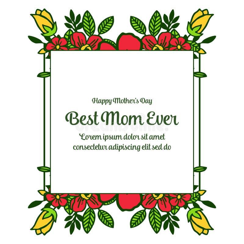 有非常美好的五颜六色的花框架的传染媒介例证横幅最佳的妈妈 皇族释放例证