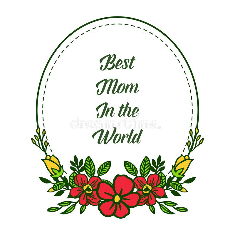 有非常美好的五颜六色的花框架的传染媒介例证横幅最佳的妈妈 库存例证