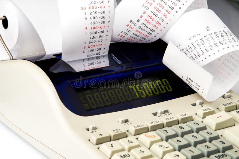 有非常长的收据的计算器 免版税库存图片