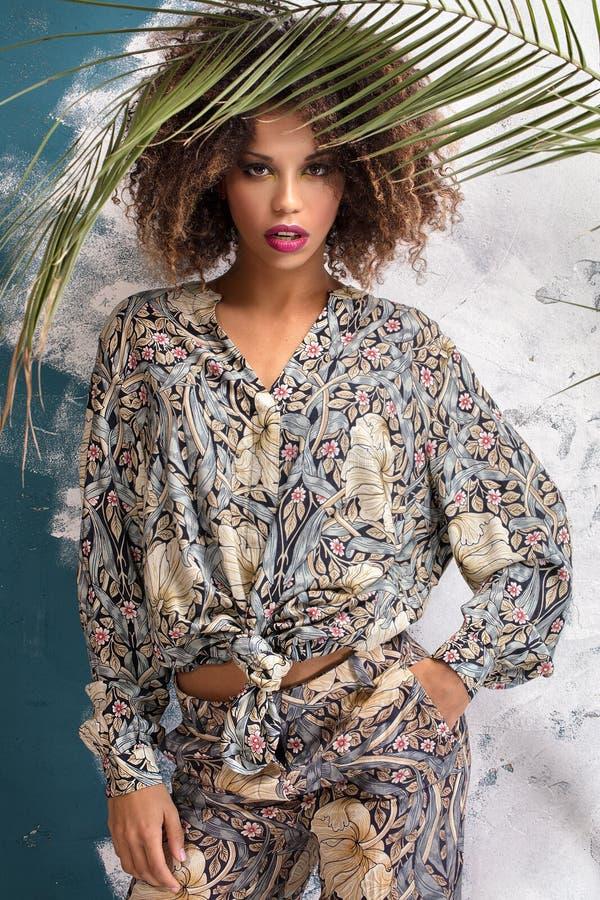 有非洲的发型和魅力构成的妇女 免版税库存照片