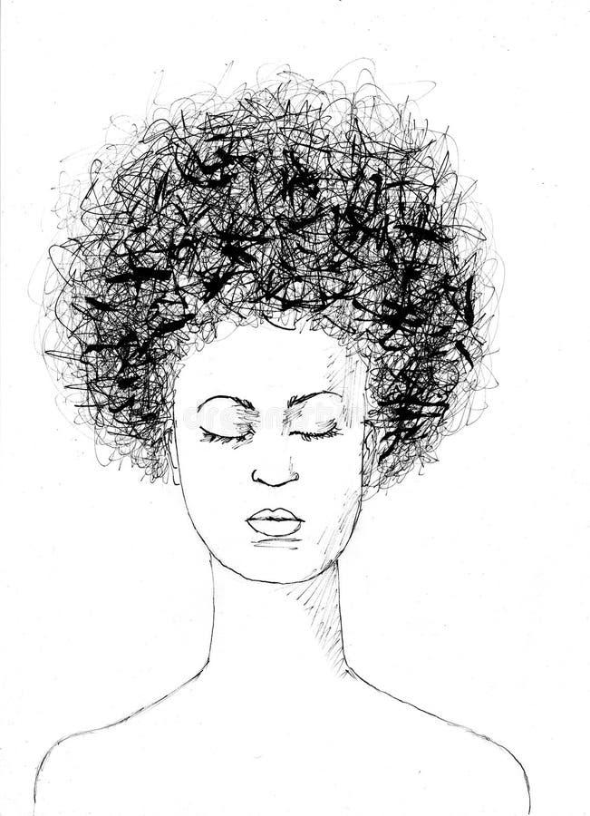 有非洲的头发图画的黑人女孩 库存图片